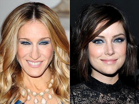 Safir gözler Sarah Jessica Parker ve Jessica Stroup'ın göz makyajı tıpkı bir mücevher palaklığında