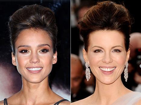 Tepede toplanmış saçlar Jessica Alba ve Kate Beckinsale dikkatleri saçlarında toplamış