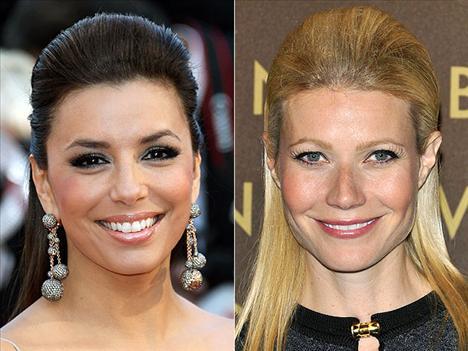 Kabaran saçlar Eva Longora Parker ve Gwyneth Paltrow önden kabartılmış, yarı toplu saçlarıyla