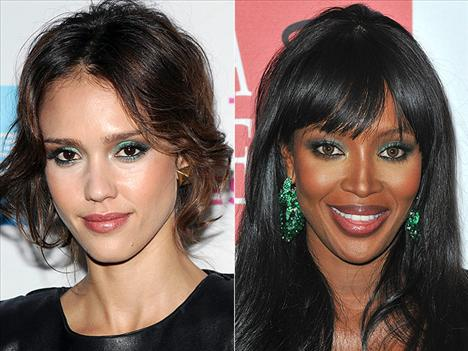 Tavuzkuşu gibi alıcı gözler Jessica Alba ve Naomi Campbell , tavuzkuşundan ilham almış