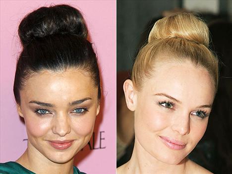 Yüksek topuz Miranda Kerr ve Kate Bosworth 60'lı yıllara geri dönmüş