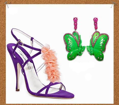 Çılgın kızın rüyası  Plastik objeler, fırfırlar, pastel ve neon renkler… Çılgın ve ele avuca sığmaz bir stili temsil ediyorsanız bu Lydia Courtaille küpeler ve Brian Atwood sandaletler tam size göre.