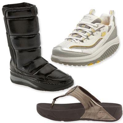 Bacaklarınızı şekillendirin  Bilim adamları sürekli yüksek topuklu ayakkabı giymenin alt bacak kasları ve ayak kaslarını gereksiz yere yorduğunu söylüyor. Fit Flop, Reebok, ,Sketchers gibi ayakkabı markaları da topuklu ayakkabılardan kaynaklanan sakatlıkları önleyen ve bacakları şekillendiren ayakkabılar üretiyor.