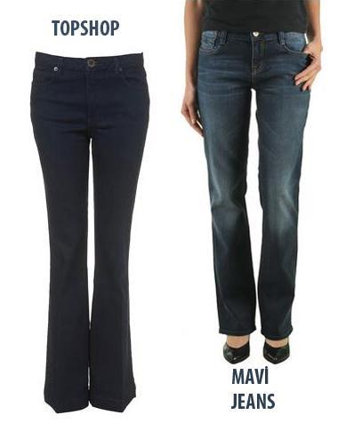 KALIN KALÇA  Ne almalı?  1.Mavi; Mona pantolon. 99.95 TL  2.Topshop; Moto Indigo Kick Flare pantolon, 40 Pound.   Neden?  Mavi'nin kullandığı özel kumaş sayesinde bacaklarınızdaki fazlalıklar toparlanıyor. Her iki modelin de diz kapağından itibaren paçalarının bollaşması, bacağın üst kısmındaki kalınlığı dengeliyor.