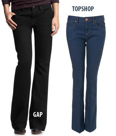 UZUN BACAKLAR  Ne almalı?  1.Topshop; Moto Jessie Flared Leg jean pantolon, 42 Pound.  2.GAP; Long8cLean pantolon, 60 Dolar.   Neden?  Dikişleri sayesinde hem bacaklarınıza hem de belinizin biraz altına oturuyor ve bu şekilde gövdenizi de uzun gösteriyorlar.