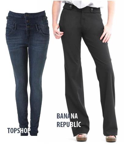 MİNYON  Ne almalı?  1.Topshop; Moto High Waisted jean pantolon. 40 Pound 2.Banana Republic; Petite Jackson lightweight wool  Neden?  Topshop'ın yüksek belli ve hafif streç kumaşlı jean pantolonları bacak boyunu anında daha uzun gösterme özelliğine sahipler. Daha kıvrımlı minyon kadınlarsa Banana'nın Jackson pantolonunun vücudu sarış şekline bayılacaklar.