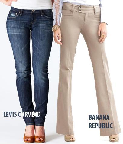 BÜYÜK POPO  Ne almalı?  1.Banana Republic; Sloan pantolon, 90 Dolar 2.Levi's Curved İD pantolon, 139 TL.   Neden?  Her iki markanın pantolonlarında da paçalardaki hafif açılma sayesinde kalçalarınızın genişliği alt kısımda dengeleniyor.