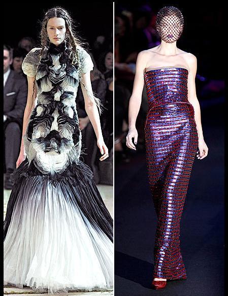 Blanchett'in sevebileceği elbiseler arasında siyah ve beyaz tüllerle süslü uzun Alexander McQueen tuvalet ya da mor ve kırmızı Armani Prive heykel formlu elbise var.