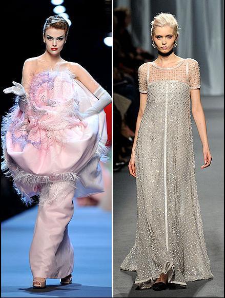 Şişen karnını kamufle etmek için güzel oyuncu pembe, üst kısmı kabarık bir etekle süslenmiş olan resimdeki Dior Haute Couture tuvaleti ya da aşağıya doğru bollaşarak inen Chanel'i tercih edebilir.