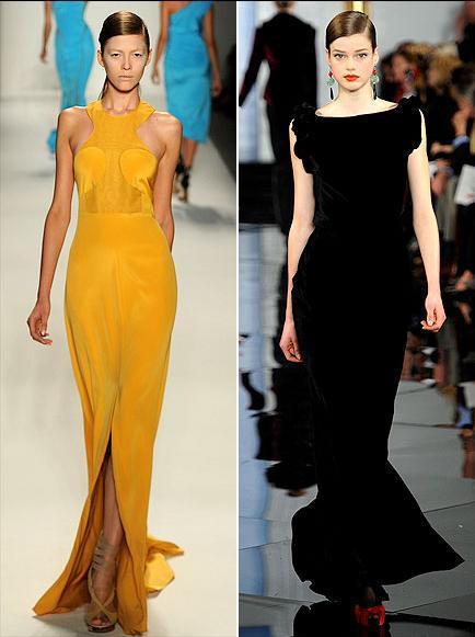 Oscar gecesi içinse Hailee Steinfeld'in giyebileceği elbiselerden ilki sarı, halterci yakalı Prabal Gurung, ikincisi ise siyah Ralph Lauren.