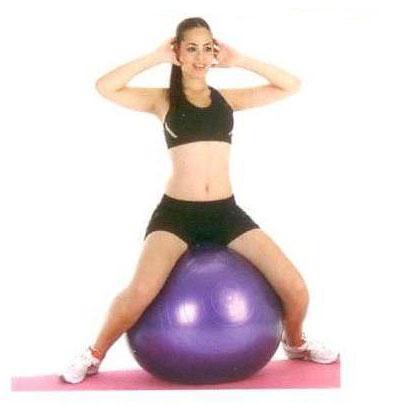 Oturarak top sıkıştırma  Topu bacaklarınızın arasına alarak dik bir şekilde üzerine oturun. Eller kulakların arkasında, nefes verirken topu iki bacakla birden sıkın, nefes alırken başlangıç pozisyonuna dönün.