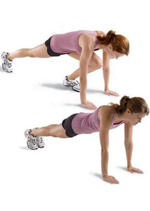 Mountain Climbers  Alt ve üst gövdeyi çalıştırıyor.  Plank pozisyonuna geçip bacaklarını bitiştir. Eller ise omuzların tam altında olmalı (a). Sol dizini kırıp göğsüne doğru yaklaştır (b). Tekrar başlangıca dönüp hareketi sağ bacağınla tekrarla. 20–30 kez uygula.   Dikkat! Hareket esnasında karın kaslarını sık ve sırtını düz tutmaya çalış.