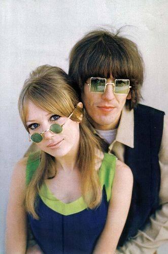 George Harrison ve Pattie Boyd  (Boyd, Harrison'ın ve Eric Clapton'ın eski eşi)