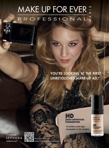 Make Up For Ever' adlı kozmetik markası dünyanın ilk 'photoshop'suz kozmetik reklam kampanyasını yarattı.