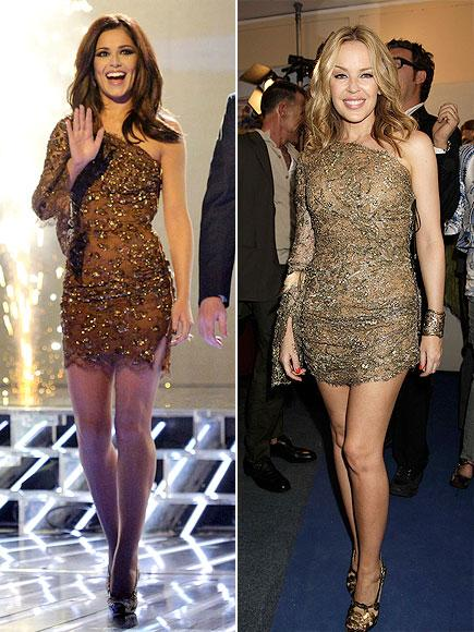Cheryl mi, Kylie mi?  Cheryl Cole parlak Emilio Pucci elbisesini sahnede giydi. Kylie Minoque ise elbisesini metalik aksesuarlarla tamamlamıştı.