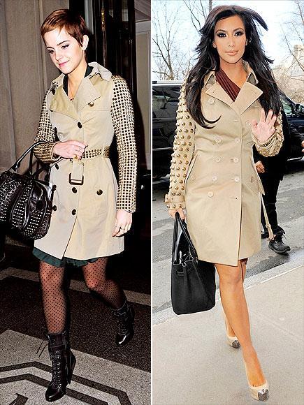 Emma mı, Kim mi?  Reality TV yıldızı Kim Kardashian ve genç aktris Emma Watson, aybu Burberry Prorsum trençkotu giyerek pişti olmuşlar.