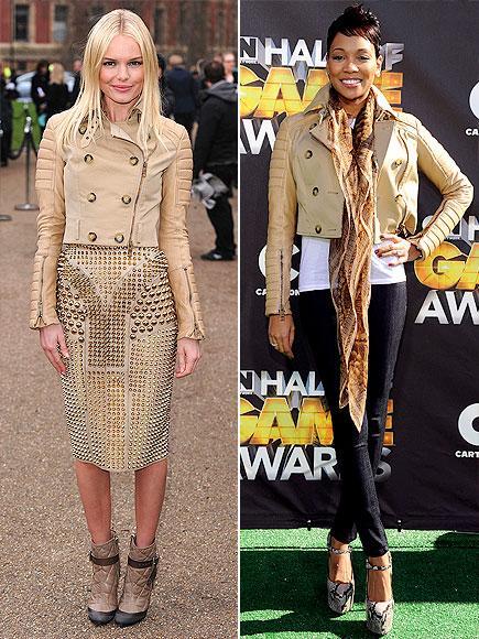 Kate mi, Monica mı?  Burberry'nin deri ceketini Kate Bosworth zımbalı, aynı tonlarda bir elbiseyle giymeyi tercih etmiş. Monica ise jeaniyle tamamlamış.