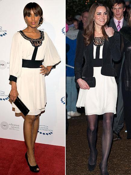 Kerry mi, Kate mi?  Aktris Kerry Washington siyah- beyaz Temperley London elbisesini sadece bir clutchla tamamşamış. İngilterenin müstakbel prensesi Kate Middleton ise üzerine ceket giymeyi tercih etmiş.