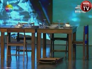 6- Masayı sallama ya da yerinden oynatma bugünün  teknolojisi  ile çok  rahat yapılabilecek bir şey. Bir çok illüzyonist gösterisinde hileli masa kullanır.  • Yetenek Sizsiniz - Aref Ghafouri ilk gösterisi