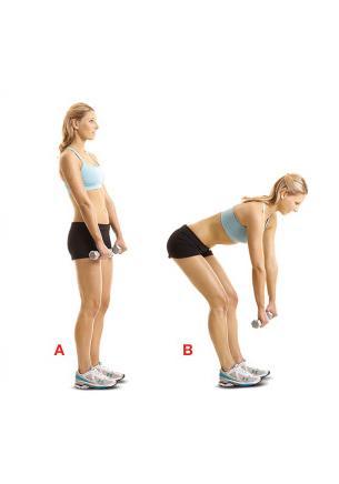 Dumble Straight – Leg Dead Lift Bacaklarını kalça genişliğinde açıp her iki eline birer  dambıl al. Eller kalçanın önünde olmalı (a). Dizlerini hafifçe kırıp öne eğil. Dambılları aşağı indirirken kalçanı dışarı çıkar. Gövde yere paralel olmalı (b). Pozisyonu bir süre koruyup tekrar başlangıca dön. 8-10 kez tekrarla.