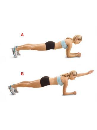 Plunk With Arm Raise Şınav pozisyonuna geçip dirseklerini kırarak gövdeni yere yaklaştır. Vücudunun ağırlığı ellerde değil kollarda olmalı. Omurgan ise dümdüz olmalı (a). Karın kaslarını sıkarak sol kolunu ileri uzat (b). Pozisyonu 3 - 10 saniye koru. Başlangıca dönüp bu hareketi diğer kolunla tekrarla.