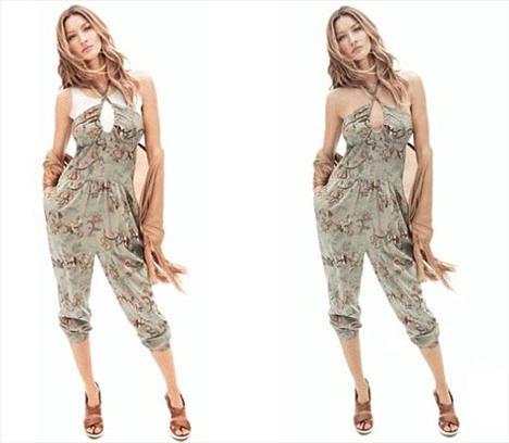 """H&M'in yeni reklam kampanyası için poz veren süpermodel Gisele Bündchen'in görüntüleri Dubai için """"fazla açık"""" bulununca dijital yollarla """"kapatıldı"""".  Fotoğraflarda omuzları ve boynu görünen Bünchen'in giysilerinin altına photoshop müdahalesi ile beyaz tişört giydirildi."""