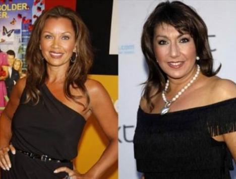 Vanessa Williams ve Jane McDonald   Eski güzellik kraliçesi Vanessa Williams (solda) ve McDonald 1963 doğumlu.  Williams biraz makyaj hilesiyle yaşıtından daha genç görünüyor.