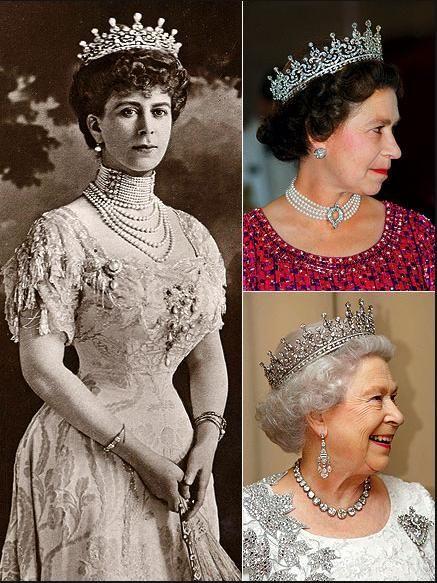 Kraliçe Mary'nin tacı, düğün gününde kızı Kraliçe Elizabeth'e geçti.