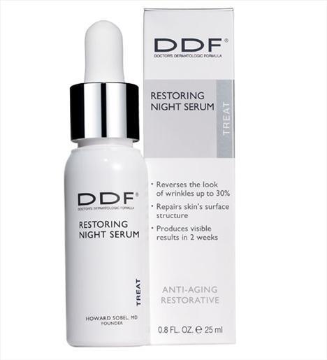 Gece bakımı  DDF Restoring Night Serum, normal, normalden kuruya eğimli, kuru ve çok nemsiz ciltler için uygun. Gece boyunca cildi derinlemesine nemlendirip cildin doğal elastin yapısını güçlendiriyor.  295 TL