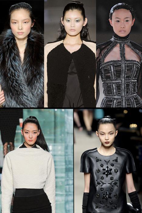 Asya kültürünün sadece kıyaferlerini almadığımızı söylemiştik... Görünüşe göre tüm dünya gözünü uzakdoğuya, Asyalılarsa moda dünyasına çevirmiş. Son zamanlarda podyumlarda genç Asya'lı modeller sıklıkla görülür oldu.  Sağdan itibaren saat yönünde: Fei Fei Sun, Ming Xi, Shu Pei Qin, Xiao Wen, So Young Kang
