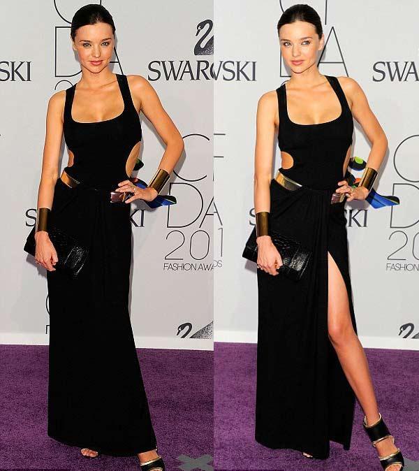 CFDA (Council of Fashion Designers of America - Amerika Moda Tasarımcıları Derneği)'nın düzenlediği ödül gecesi yine şıklık yarışına sahne oldu. Konukların çoğu renkli giyinmeyi tercih etmişti. Fakat Miranda Kerr giydiği seksi cut-out Michael Kors elbisesiyle nefes kesti.