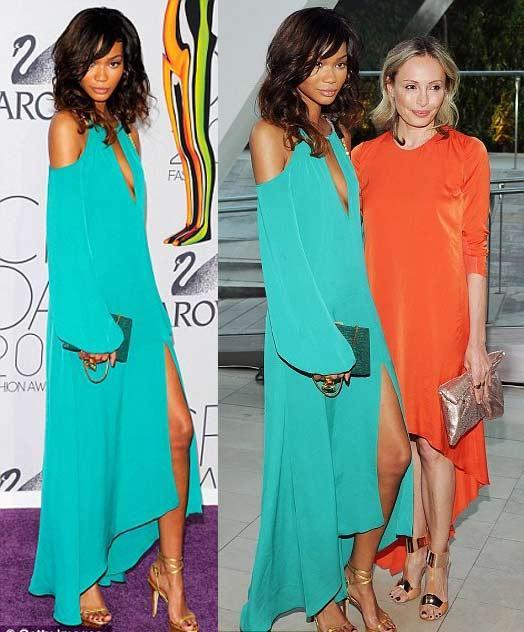 Neon renkler de oldukça büyük ilgi topladı. Siyahi model Chanel Iman'ın giydiği turkuaz elbise ten rengine çok yakışmıştı.