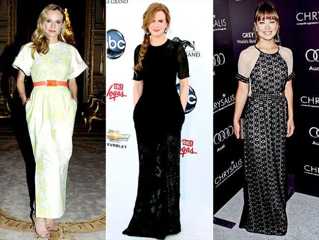 Yarım kollu elbiseler Özellikle gece kıyafetlerinde dekolte giyinmeden ya da gösterişli kumaşlar seçmeden şık ve dikkat çekici görünmek zordur. Fakat Diane Kruger, Nicole Kidman ve Olivia Wilde bu yarım kollu elbiselerle şık ve elegan görünüyorlar.
