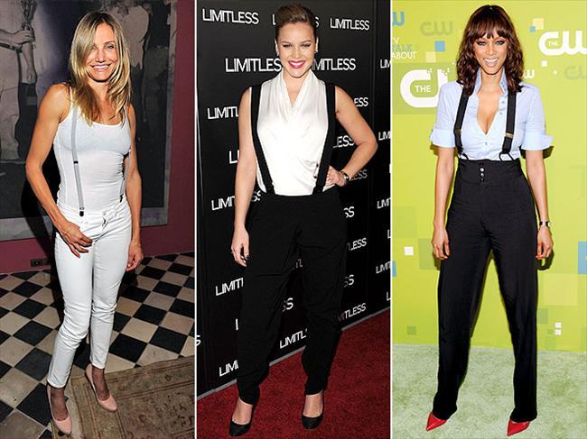 Pantolon Askıları Cameron Diaz, Abbie Cornish ve Tyra Banks'in bir bildiği olmalı. Pantolon askılarını hem günlük giysileriyle hem de klasik görünümlerle kullanabiliyorlar.