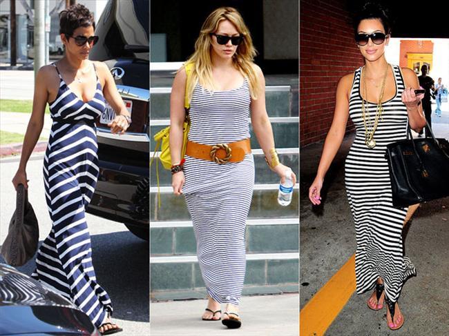 Çizgili maksi elbiseler Halle Berry asimetrik bir görünümü, Hillary Duff ince çizgileri, Kim Kardashian ise kalın çizgileri tercih etmiş. Bu trendle ilgili size bir uyarımız olacak; Eğer kıvrımlı vücut hatlarınız varsa, enine çizgiler yerine Halle Berry'ninki gibi asimetrik görünümleri tercih edin.