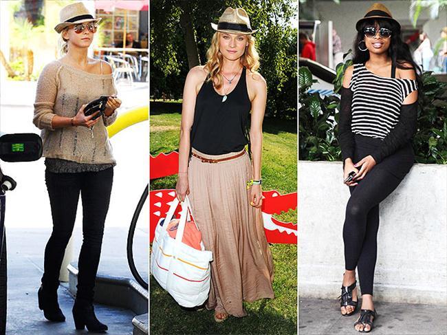Hasır fötr şapkalar Ben bu şapkalara bayılıyorum. İlk olarak Diane Kruger'da görmüştüm... Görünen o ki hasır şapkalar bu yaz oldukça popüler.
