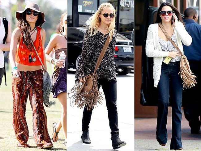 Püsküllü omuz çantaları Vanessa Hudgens hippi tarzıyla, Nicole Ricthie boho-chic görünümüyl ve Jenna Dwan da modern şehitli tarzıyla aynı görünümde çantalar kullanmış. Demel oluyor ki püsküllü çantalarınızı her şeyle tamamlayabilirsiniz.