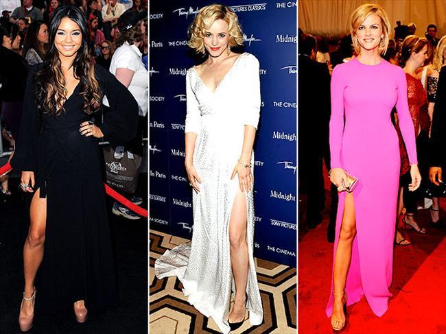 Uzun kollar ve derin yırtmaçlar Gece elbiselerinin en çok öne çıkan trendi bu... Modacılar her zaman kıyafetlerimizde dekolteyi abartmamamız için bizi uyarıyorlar da, artık onları ciddiye almaya başlayabiliriz.