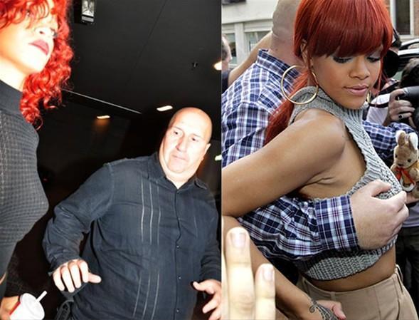 Birkaç ay önce Avustralya'da şarkıcıyı korumaya çalışırken göğüslerini elleyen bodyguard, son olarak Kanada'da bir gece kulübü çıkışında Rihanna'nın göğüslerine bakarken görüntülendi.