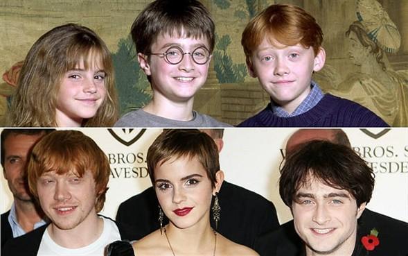 Küçük yıldızlar kamera karşısında büyüdü.  Daniel Radcliffe, Rupert Grint ve Emma Watson, ilk Harry Potter filmi için 2000 yılında bir araya geldiklerinde birer çocuktular...   Serinin 7. filmi için 2010 yılında bir araya geldiklerinde ise yaşanan değişim gözler önüne seriliyor.