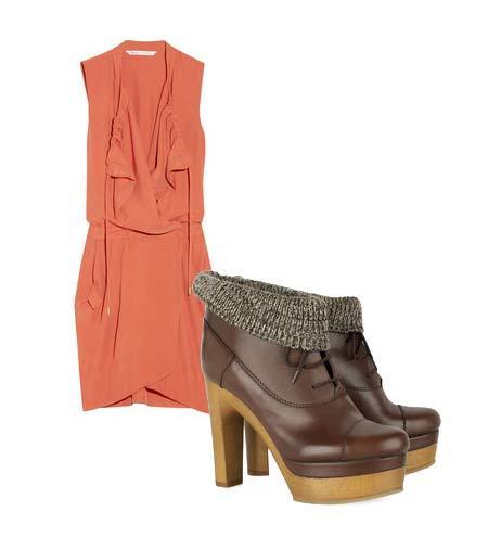Yazlık elbiselerinizi botlarla tamamlamaya ne dersiniz? Hem böylece yavaş yavaş kendinizi yaklaşmakta olan sonbahar sezonuna hazırlamış olursunuz. Elbise: Diane Von Furstenberg Ayakkabı:Chloé