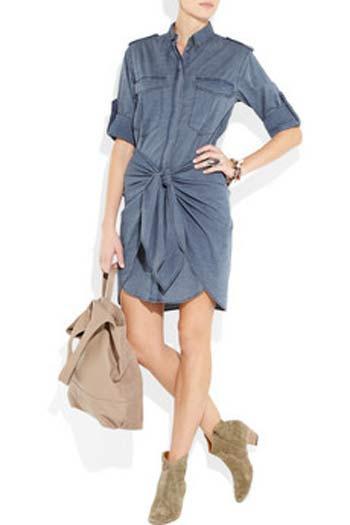 Etoile Isabel Marant'dan kendinden kemerli gömlek elbise. Doğrusunu söylemek gerekirse biz eteğine bayıldık.