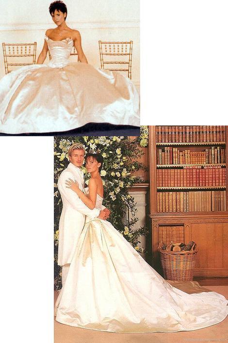 Victoria Beckham  Victoria ve David'in 1999 yılında İskoçya'da gerçekleşen düğünlerine sadece 29 konuk davetliydi ama bu Victoria'nın çok gösterişli bir gelinlik giymesine engel değildi. Bu gelinliğin tasarımcısı da tahmin edebileceğiniz gibi; Vera Wang.