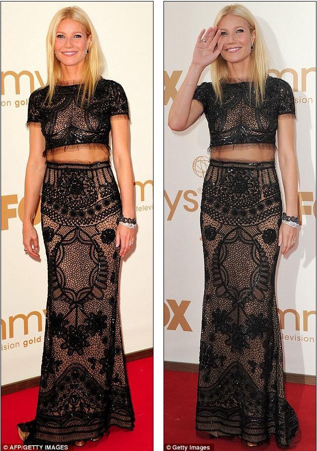 Gwyneth Paltrow'un göbeğini açıkta bırakan siyah, payetli elbisesi Pucci, mücevherleri ise Neil Lane'di.