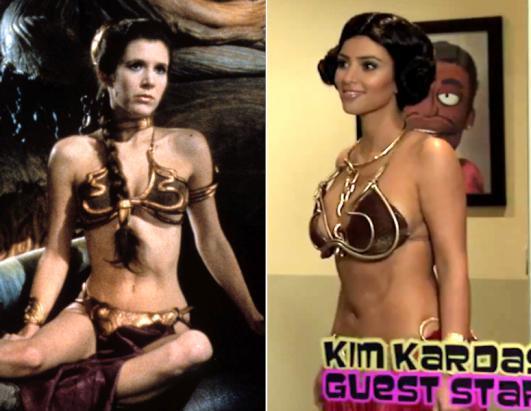 Merkezi New York ta bulunan ABC News hazırladığı ünlüler arasındaki benzerliğe dikkat çekti.   Yıldız Savaşları'nda (Star Wars) Prenses Leia rolüyle ünlenen Carrie Fisher ve Kim Kardashian.