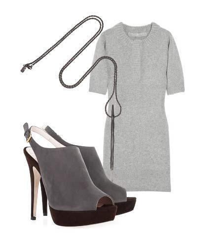 Süveter elbisenizi yazın son günlerinde giymek için yapmanız gereken tek değişiklik altına şık bir çift sandalet uydurmak. Ayrıca uzun kolyeler ve kıvırdığınızda açıkta kalan kollarınızı süslemek için kalın bilezikler de kullanabilirsiniz.    Elbise: Reed Krakof Ayakkabı: Miu Miu Kolye: Pamela Love