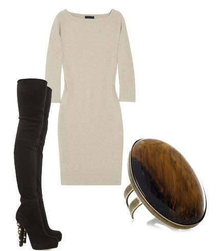 Kışın ise yapmanız gereken tek değişiklik bootilerinizi çıkarıp uzun çizmelerinizi giymek.   Elbise: Donna Karan Ayakkabı: Brian Atwood Yüzük: Isabel Marant