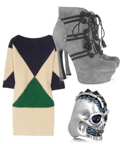 Elbise: Stella McCartney Ayakkabı: Yves Saint Lauren Yüzük: Alexander McQueen