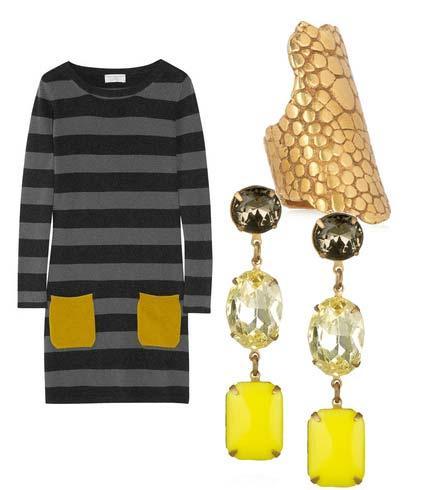 Elbise: Chinti And parker  Yüzük: Yves Saint Laurent Küpe: Lulu Frost
