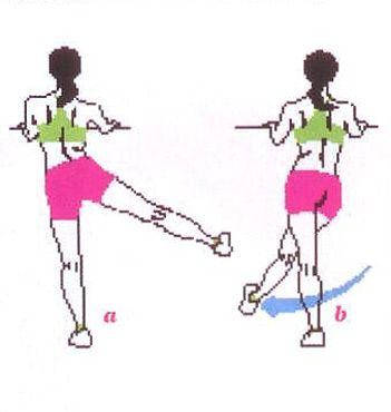 2) SIOE-TO-SIOE LEG SWING HIP  Ayakta dur ve sabit bir yere tutun.  Sağ bacağını sağ yanına doğru savurarak kaldırabildiğin kadar yükseğe kaldır (a),  Ardından ters yöne, sol bacağının çaprazına doğru savur (b).  12-20 tekrar yap, bacaklarını değiştir ve tekrar et.